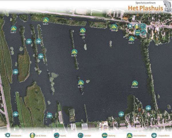 Visplekken en stekken op het betaalwater het plashuis